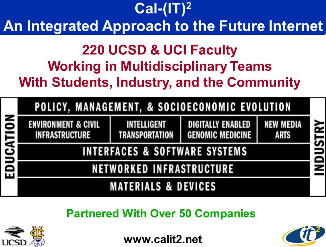 Cal-(IT) 2 An Integrated Approach to the Future Internet UCSD & UCI Faculty Working in Multidisciplinary Teams With Students, Industry, and the Community Partnered With Over 50 Companies