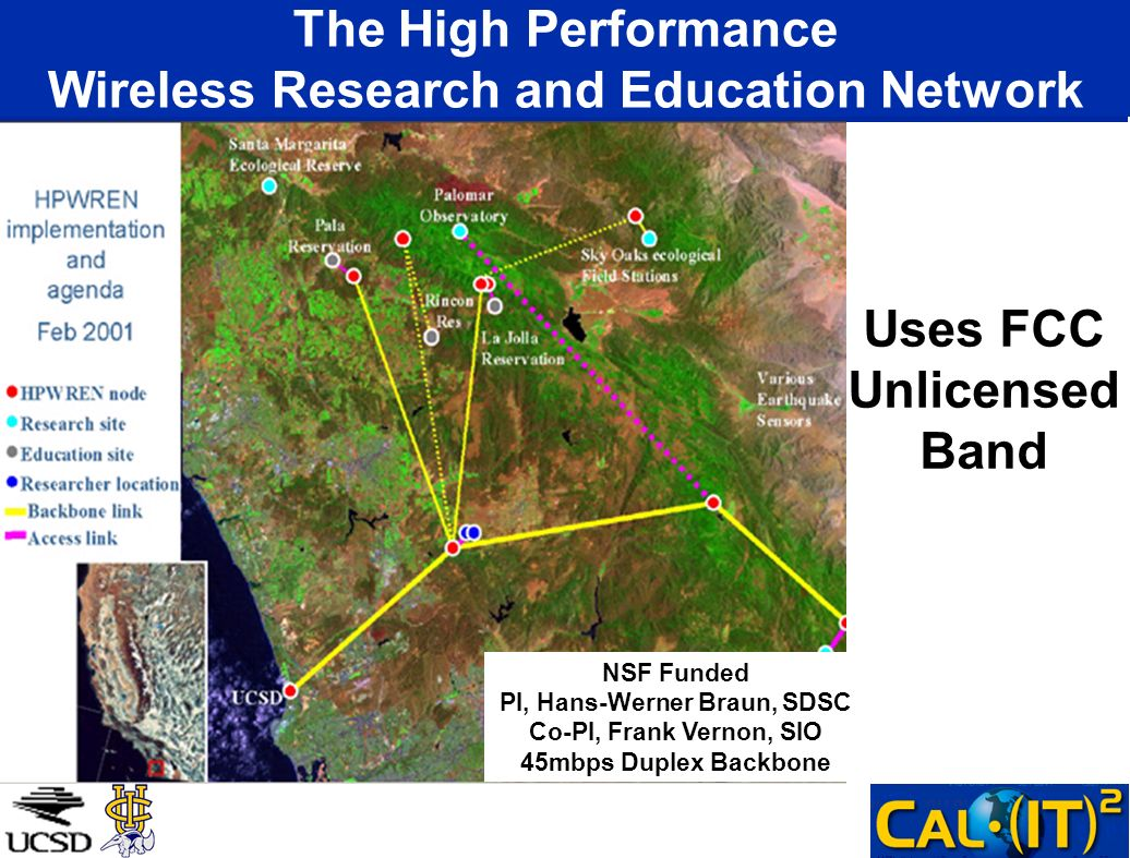The High Performance Wireless Research and Education Network NSF Funded PI, Hans-Werner Braun, SDSC Co-PI, Frank Vernon, SIO 45mbps Duplex Backbone Us
