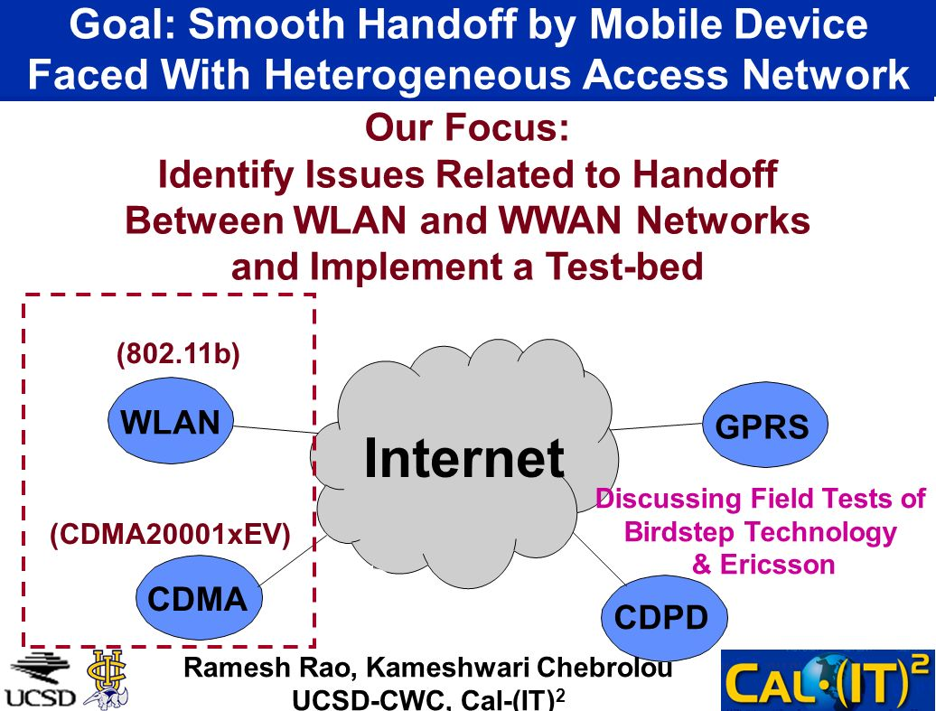 Goal: Smooth Handoff by Mobile Device Faced With Heterogeneous Access Network WLAN GPRS CDMA CDPD Internet (802.11b) (CDMA20001xEV) Our Focus: Identify Issues Related to Handoff Between WLAN and WWAN Networks and Implement a Test-bed Ramesh Rao, Kameshwari Chebrolou UCSD-CWC, Cal-(IT) 2 Discussing Field Tests of Birdstep Technology & Ericsson