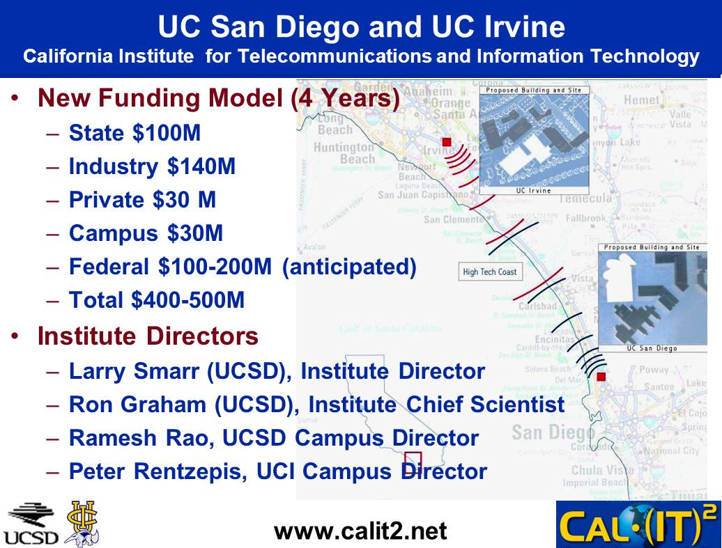 UC San Diego and UC Irvine California Institute for Telecommunications and Information Technology New Funding Model (4 Years) –State $100M –Industry $140M –Private $30 M –Campus $30M –Federal $ M (anticipated) –Total $ M Institute Directors –Larry Smarr (UCSD), Institute Director –Ron Graham (UCSD), Institute Chief Scientist –Ramesh Rao, UCSD Campus Director –Peter Rentzepis, UCI Campus Director