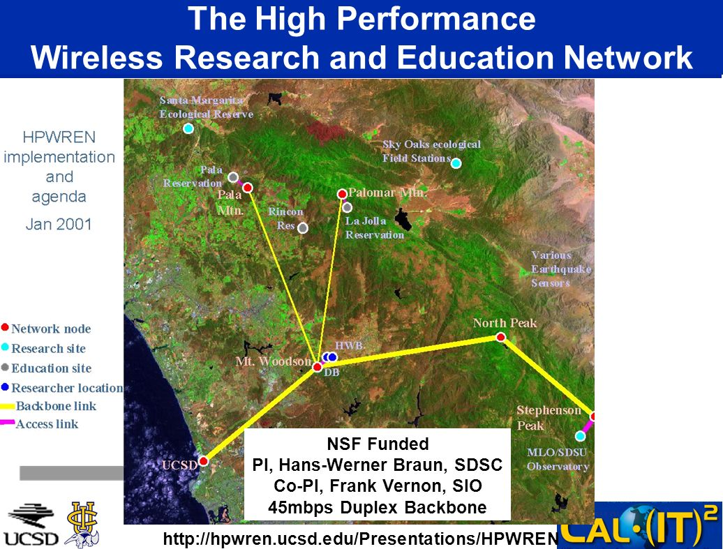 The High Performance Wireless Research and Education Network NSF Funded PI, Hans-Werner Braun, SDSC Co-PI, Frank Vernon, SIO 45mbps Duplex Backbone