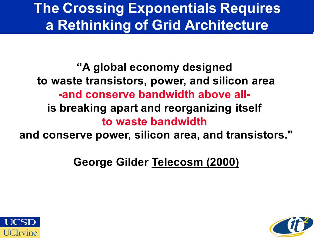 The Crossing Exponentials Requires a Rethinking of Grid Architecture A global economy designed to waste transistors, power, and silicon area -and conserve bandwidth above all- is breaking apart and reorganizing itself to waste bandwidth and conserve power, silicon area, and transistors. George Gilder Telecosm (2000)