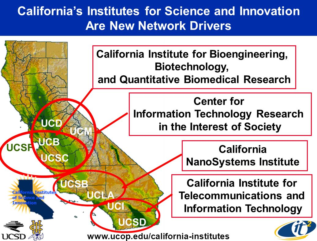 Californias Institutes for Science and Innovation Are New Network Drivers UCSB UCLA California NanoSystems Institute UCSF UCB California Institute for