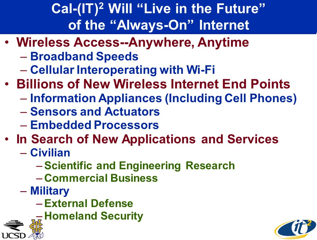 Wireless Access--Anywhere, Anytime –Broadband Speeds –Cellular Interoperating with Wi-Fi Billions of New Wireless Internet End Points –Information App