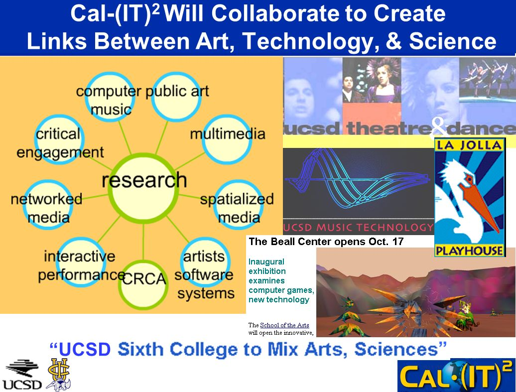 Cal-(IT) 2 Will Collaborate to Create Links Between Art, Technology, & Science UCSD