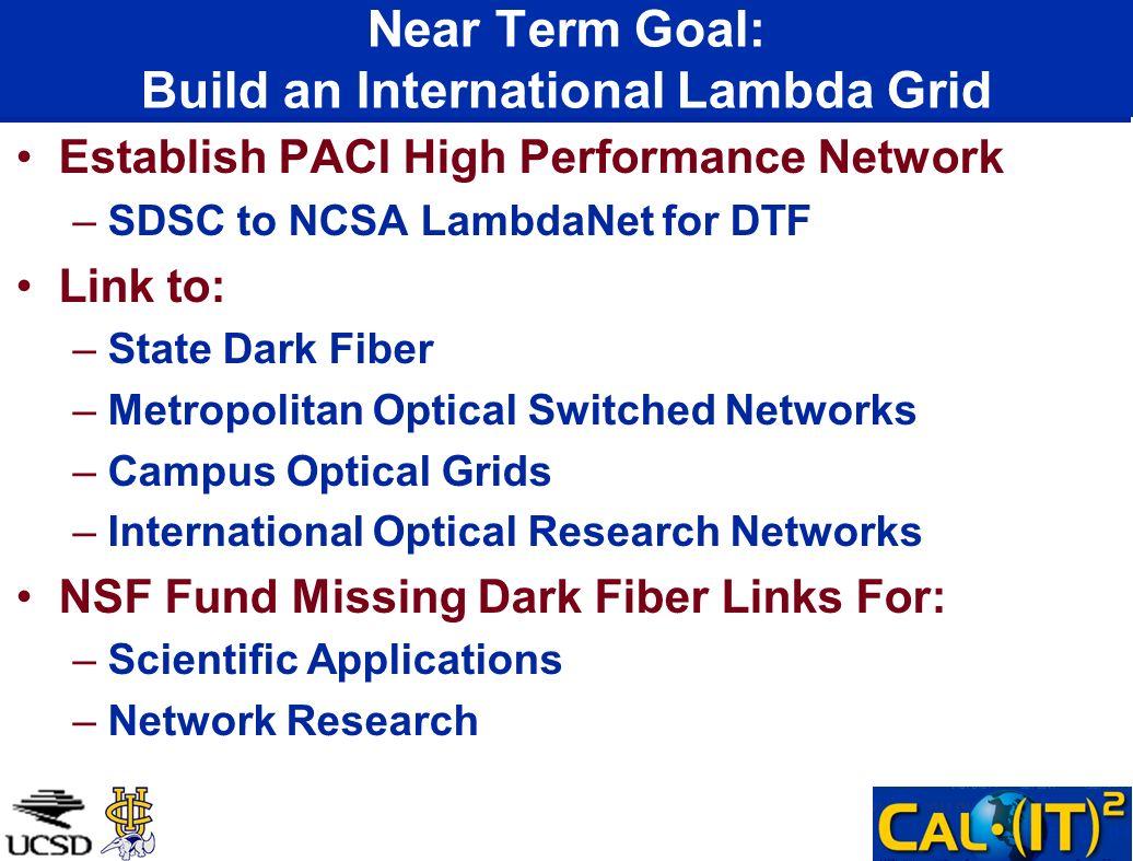 Near Term Goal: Build an International Lambda Grid Establish PACI High Performance Network –SDSC to NCSA LambdaNet for DTF Link to: –State Dark Fiber
