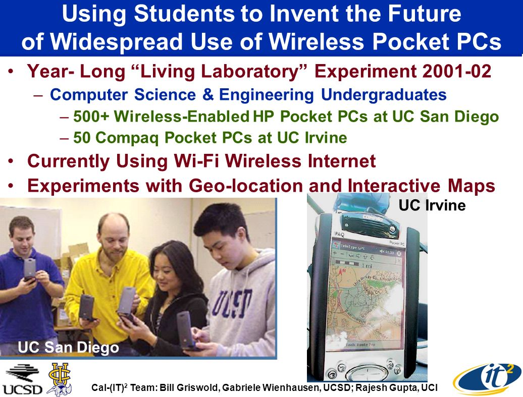 Using Students to Invent the Future of Widespread Use of Wireless Pocket PCs Year- Long Living Laboratory Experiment 2001-02 –Computer Science & Engin