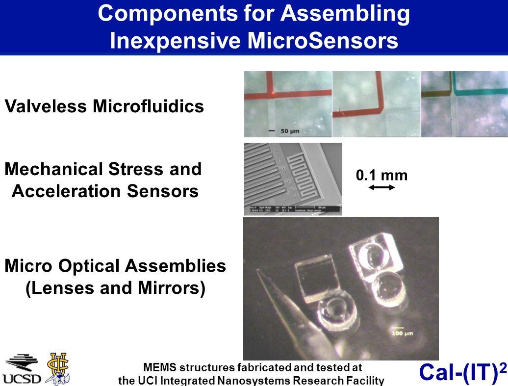 Cal-(IT) 2 Components for Assembling Inexpensive MicroSensors Valveless Microfluidics Mechanical Stress and Acceleration Sensors Micro Optical Assembl