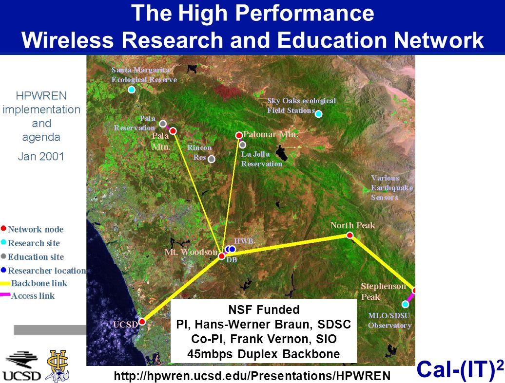 Cal-(IT) 2 The High Performance Wireless Research and Education Network NSF Funded PI, Hans-Werner Braun, SDSC Co-PI, Frank Vernon, SIO 45mbps Duplex Backbone http://hpwren.ucsd.edu/Presentations/HPWREN