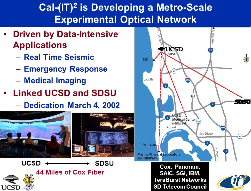 Cal-(IT) 2 is Developing a Metro-Scale Experimental Optical Network Driven by Data-Intensive Applications –Real Time Seismic –Emergency Response –Medical Imaging Linked UCSD and SDSU –Dedication March 4, 2002 Linking Control Rooms Cox, Panoram, SAIC, SGI, IBM, TeraBurst Networks SD Telecom Council UCSD SDSU 44 Miles of Cox Fiber