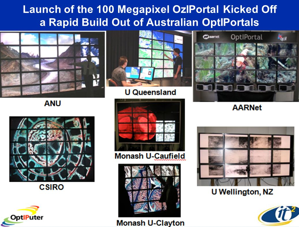 Launch of the 100 Megapixel OzIPortal Kicked Off a Rapid Build Out of Australian OptIPortals Covise, Phil Weber, Jurgen Schulze, Calit2 CGLX, Kai-Uwe Doerr, Calit2   id=1421 January 15, 2008 No Calit2 Person Physically Flew to Australia to Bring This Up.