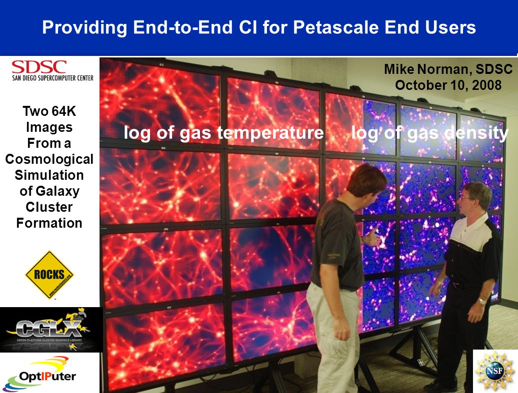 Providing End-to-End CI for Petascale End Users Two 64K Images From a Cosmological Simulation of Galaxy Cluster Formation Mike Norman, SDSC October 10, 2008 log of gas temperature log of gas density
