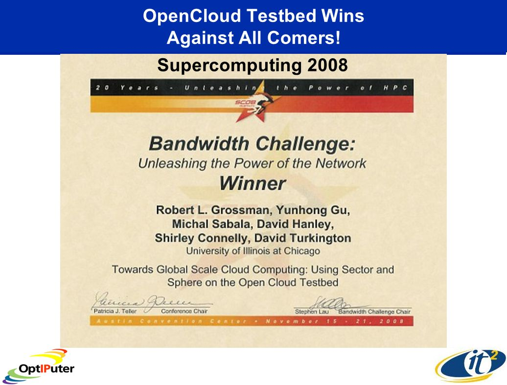 OpenCloud Testbed Wins Against All Comers! Supercomputing 2008