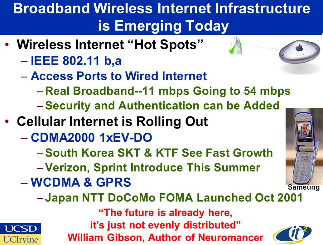 Broadband Wireless Internet Infrastructure is Emerging Today Wireless Internet Hot Spots –IEEE 802.11 b,a –Access Ports to Wired Internet –Real Broadband--11 mbps Going to 54 mbps –Security and Authentication can be Added Cellular Internet is Rolling Out –CDMA2000 1xEV-DO –South Korea SKT & KTF See Fast Growth –Verizon, Sprint Introduce This Summer –WCDMA & GPRS –Japan NTT DoCoMo FOMA Launched Oct 2001 The future is already here, its just not evenly distributed William Gibson, Author of Neuromancer Samsung