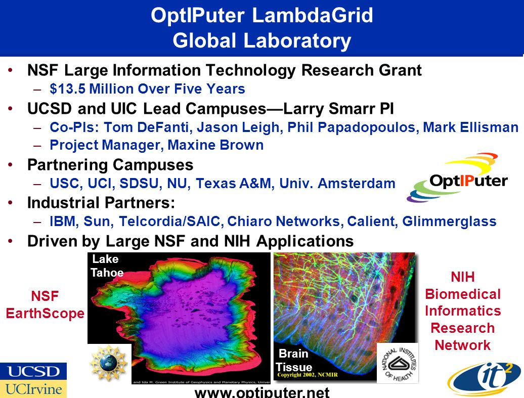 OptIPuter LambdaGrid Global Laboratory NSF Large Information Technology Research Grant –$13.5 Million Over Five Years UCSD and UIC Lead CampusesLarry Smarr PI –Co-PIs: Tom DeFanti, Jason Leigh, Phil Papadopoulos, Mark Ellisman –Project Manager, Maxine Brown Partnering Campuses –USC, UCI, SDSU, NU, Texas A&M, Univ.