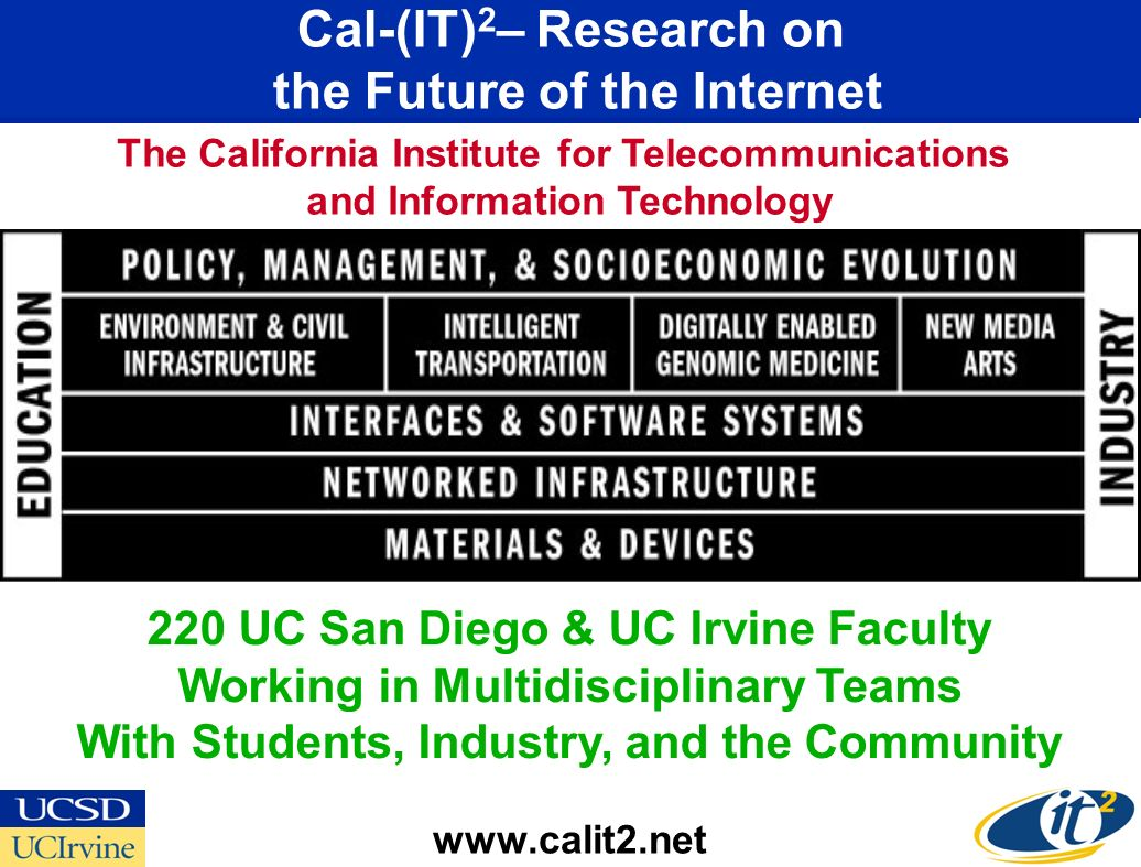 Cal-(IT) 2 – Research on the Future of the Internet www.calit2.net 220 UC San Diego & UC Irvine Faculty Working in Multidisciplinary Teams With Students, Industry, and the Community The California Institute for Telecommunications and Information Technology
