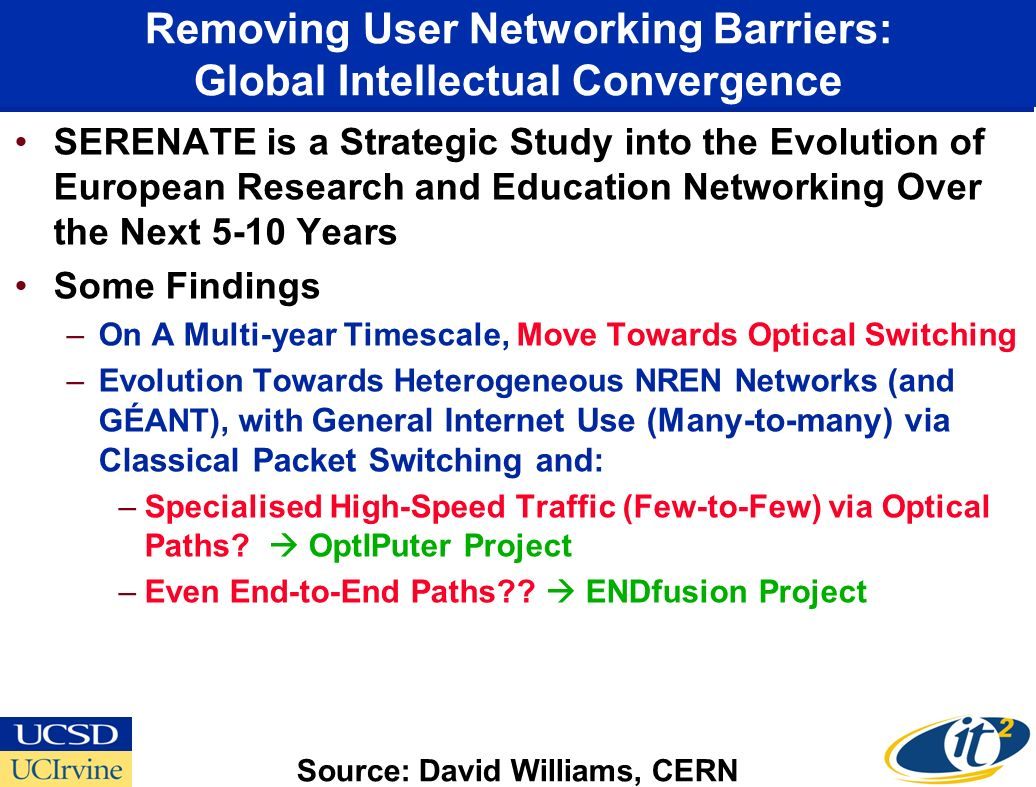 Removing User Networking Barriers: Global Intellectual Convergence SERENATE is a Strategic Study into the Evolution of European Research and Education Networking Over the Next 5-10 Years Some Findings –On A Multi-year Timescale, Move Towards Optical Switching –Evolution Towards Heterogeneous NREN Networks (and GÉANT), with General Internet Use (Many-to-many) via Classical Packet Switching and: –Specialised High-Speed Traffic (Few-to-Few) via Optical Paths.