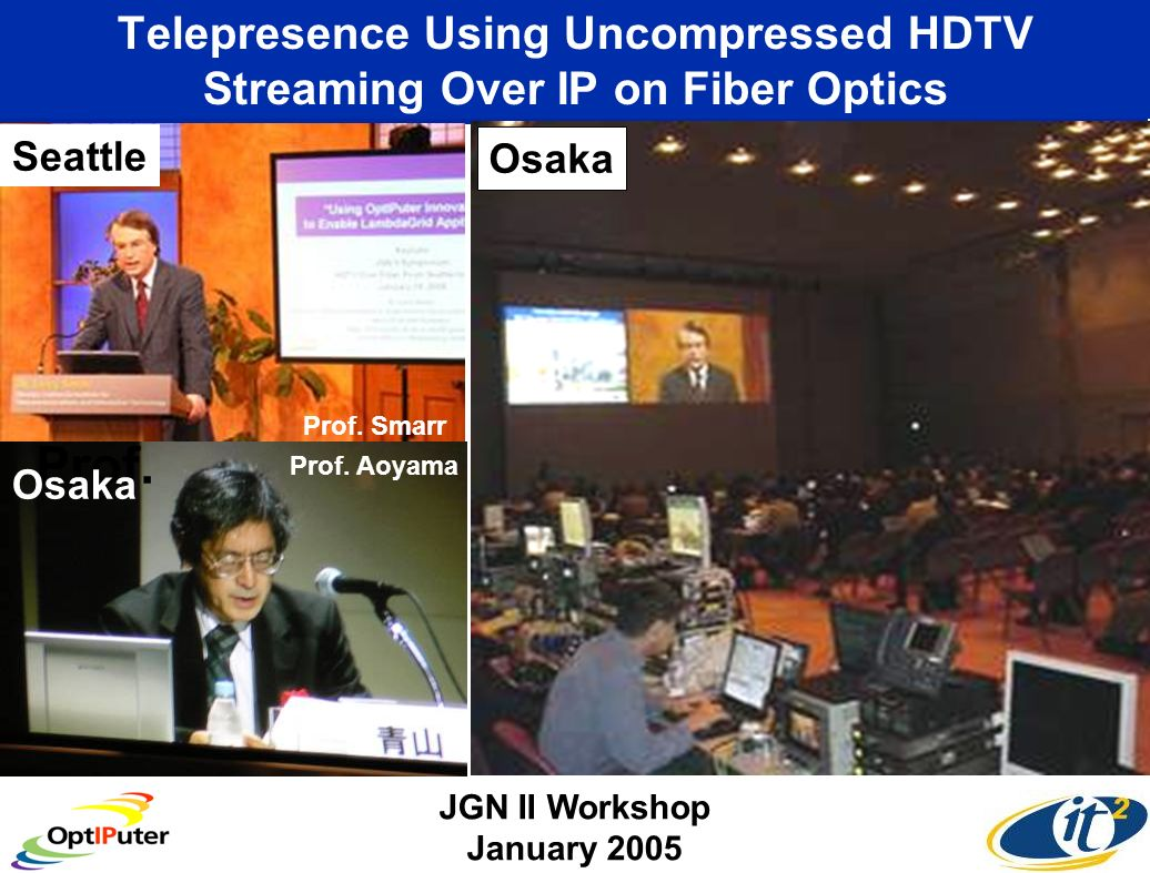 Telepresence Using Uncompressed HDTV Streaming Over IP on Fiber Optics Seattle JGN II Workshop January 2005 Osaka Prof.