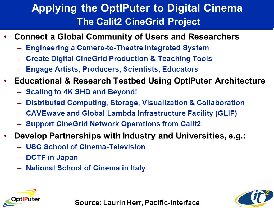 Applying the OptIPuter to Digital Cinema The Calit2 CineGrid Project Connect a Global Community of Users and Researchers –Engineering a Camera-to-Theatre Integrated System –Create Digital CineGrid Production & Teaching Tools –Engage Artists, Producers, Scientists, Educators Educational & Research Testbed Using OptIPuter Architecture –Scaling to 4K SHD and Beyond.