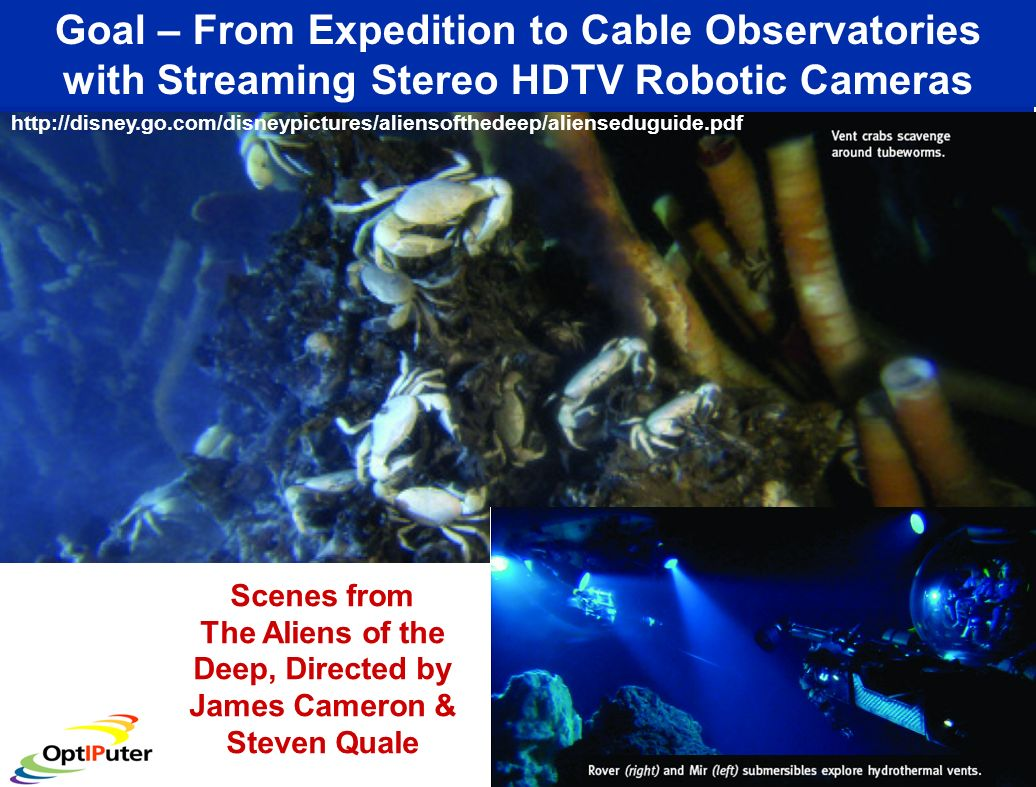 Goal – From Expedition to Cable Observatories with Streaming Stereo HDTV Robotic Cameras Scenes from The Aliens of the Deep, Directed by James Cameron