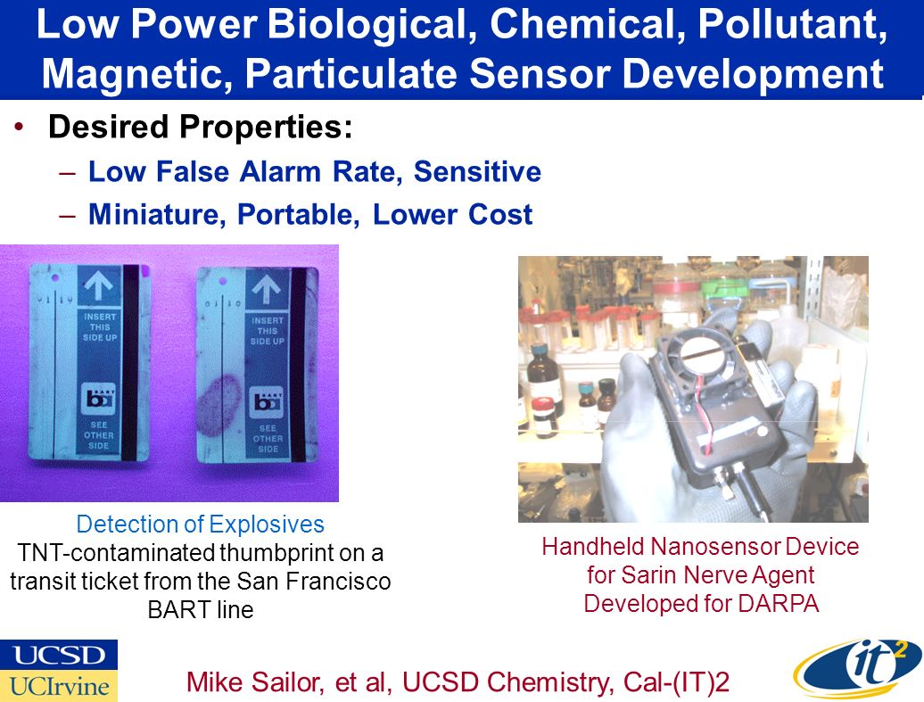 Low Power Biological, Chemical, Pollutant, Magnetic, Particulate Sensor Development Desired Properties: –Low False Alarm Rate, Sensitive –Miniature, Portable, Lower Cost Handheld Nanosensor Device for Sarin Nerve Agent Developed for DARPA Detection of Explosives TNT-contaminated thumbprint on a transit ticket from the San Francisco BART line Mike Sailor, et al, UCSD Chemistry, Cal-(IT)2