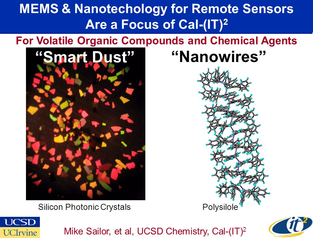 MEMS & Nanotechology for Remote Sensors Are a Focus of Cal-(IT) 2 Smart Dust Nanowires Mike Sailor, et al, UCSD Chemistry, Cal-(IT) 2 For Volatile Organic Compounds and Chemical Agents Silicon Photonic CrystalsPolysilole