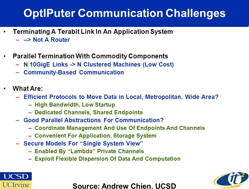 OptIPuter Communication Challenges Terminating A Terabit Link In An Application System –--> Not A Router Parallel Termination With Commodity Components –N 10GigE Links -> N Clustered Machines (Low Cost) –Community-Based Communication What Are: –Efficient Protocols to Move Data in Local, Metropolitan, Wide Area.