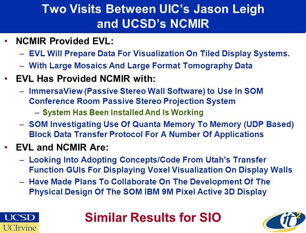 Two Visits Between UICs Jason Leigh and UCSDs NCMIR NCMIR Provided EVL: –EVL Will Prepare Data For Visualization On Tiled Display Systems.