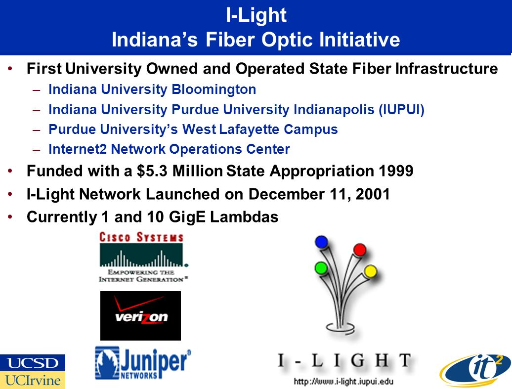 I-Light Indianas Fiber Optic Initiative First University Owned and Operated State Fiber Infrastructure –Indiana University Bloomington –Indiana University Purdue University Indianapolis (IUPUI) –Purdue Universitys West Lafayette Campus –Internet2 Network Operations Center Funded with a $5.3 Million State Appropriation 1999 I-Light Network Launched on December 11, 2001 Currently 1 and 10 GigE Lambdas