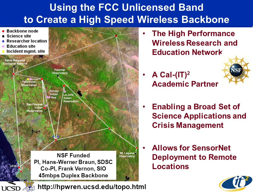 Using the FCC Unlicensed Band to Create a High Speed Wireless Backbone The High Performance Wireless Research and Education Network A Cal-(IT) 2 Acade