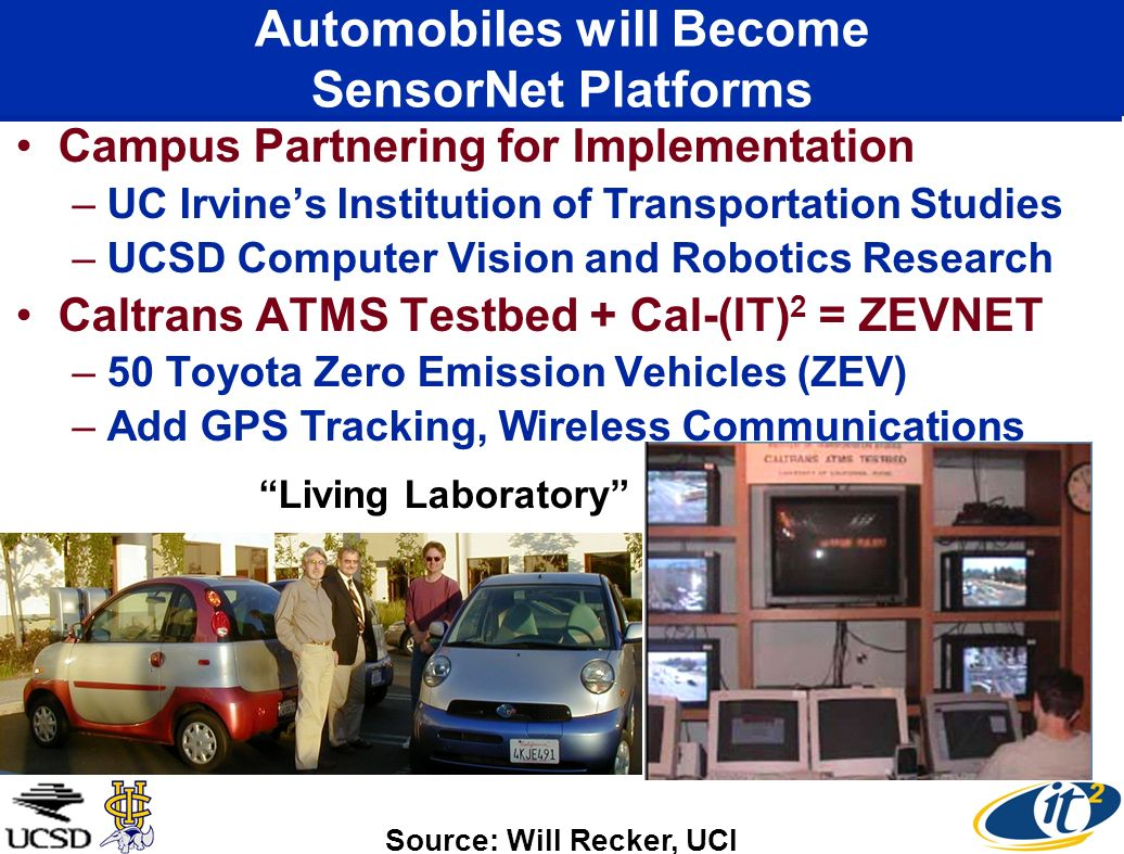 Automobiles will Become SensorNet Platforms Campus Partnering for Implementation –UC Irvines Institution of Transportation Studies –UCSD Computer Visi