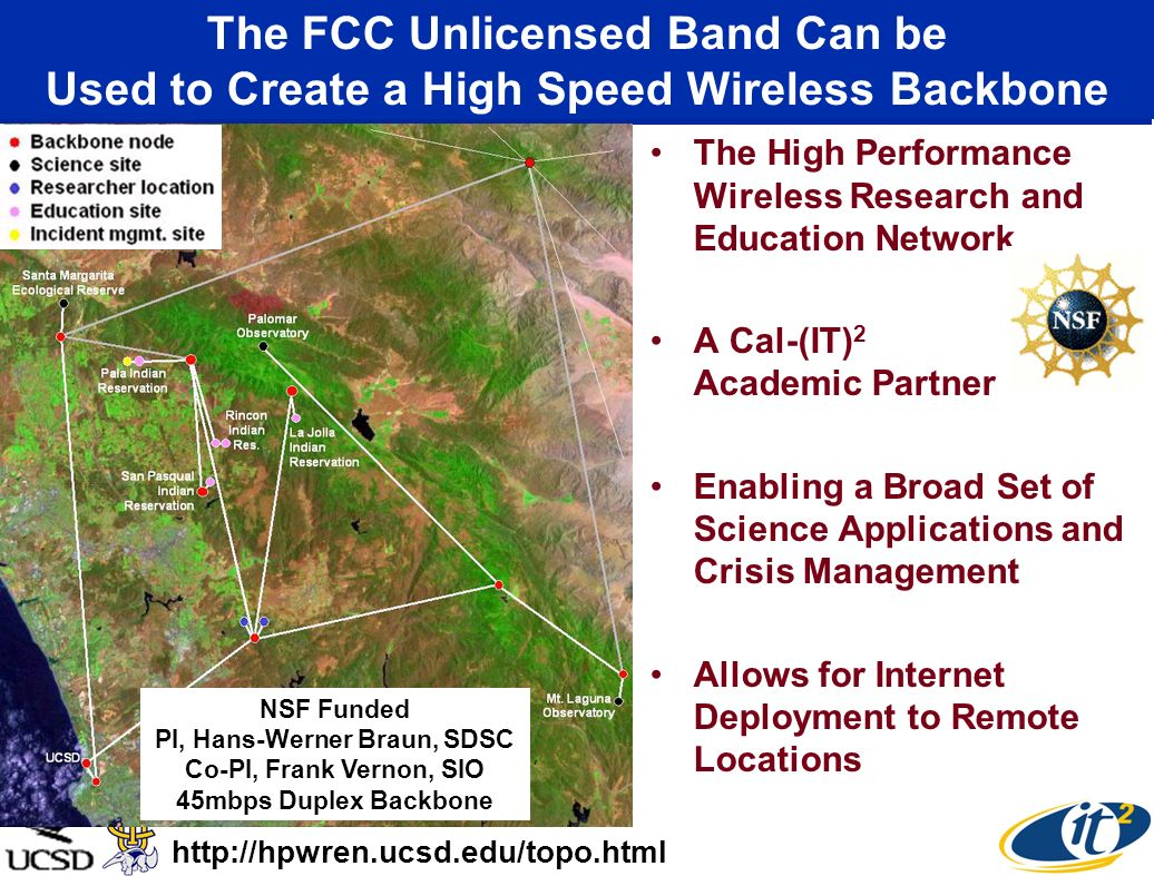 The FCC Unlicensed Band Can be Used to Create a High Speed Wireless Backbone The High Performance Wireless Research and Education Network A Cal-(IT) 2