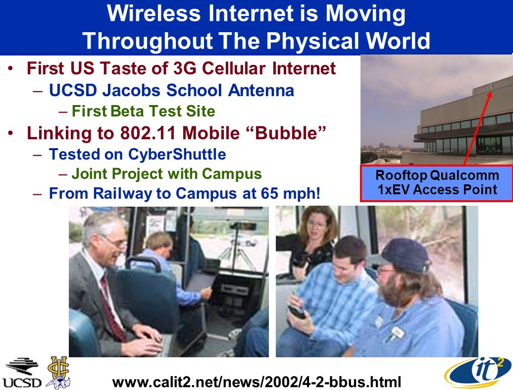 Wireless Internet is Moving Throughout The Physical World First US Taste of 3G Cellular Internet –UCSD Jacobs School Antenna –First Beta Test Site Lin