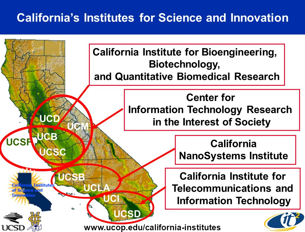 Californias Institutes for Science and Innovation UCSB UCLA California NanoSystems Institute UCSF UCB California Institute for Bioengineering, Biotech