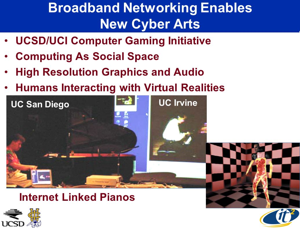 Broadband Networking Enables New Cyber Arts UCSD/UCI Computer Gaming Initiative Computing As Social Space High Resolution Graphics and Audio Humans Interacting with Virtual Realities UC San Diego UC Irvine Internet Linked Pianos