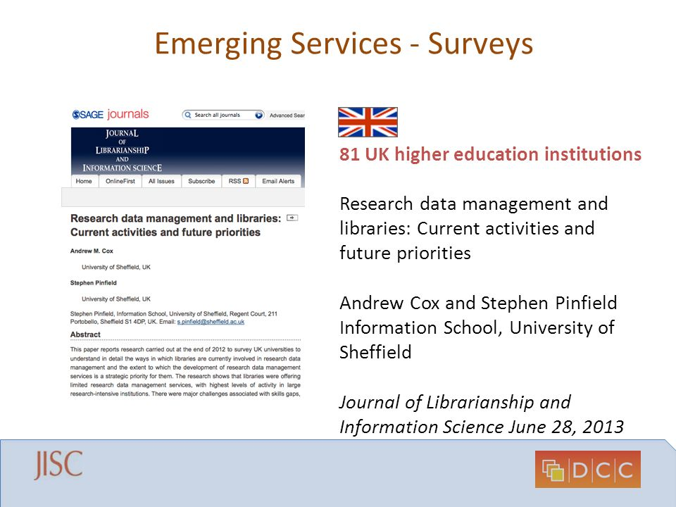 Emerging Services - Surveys 81 UK higher education institutions Research data management and libraries: Current activities and future priorities Andre