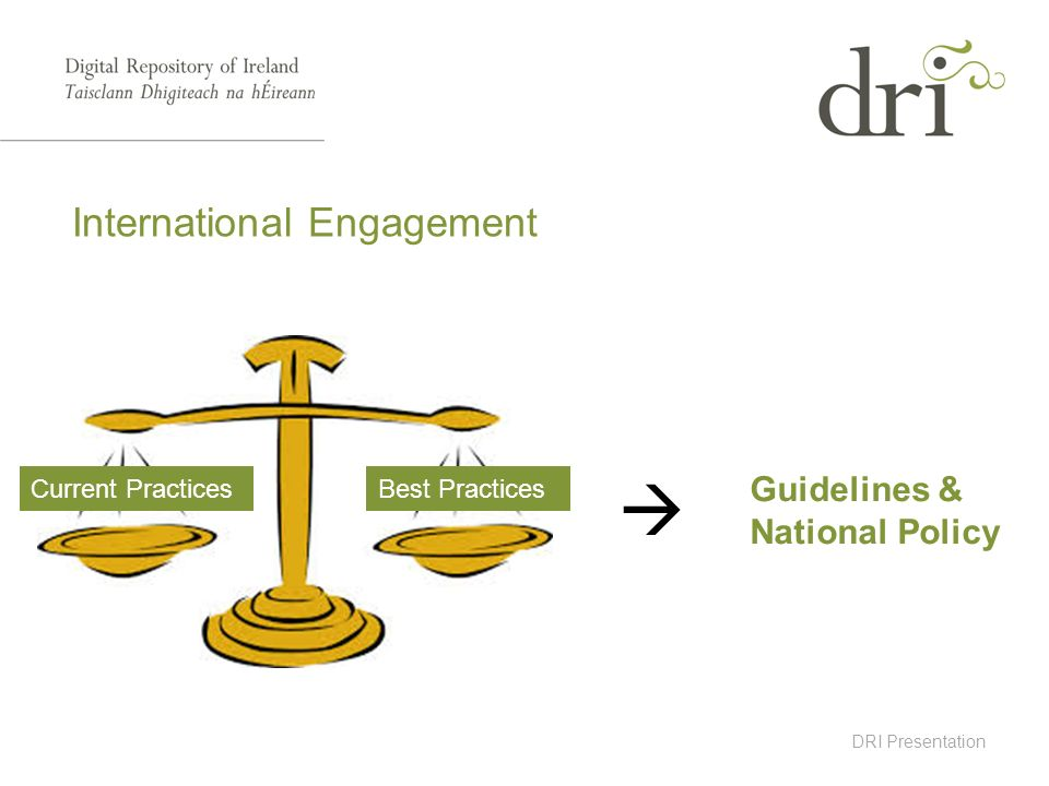 DRI Presentation International Engagement Current PracticesBest Practices Guidelines & National Policy