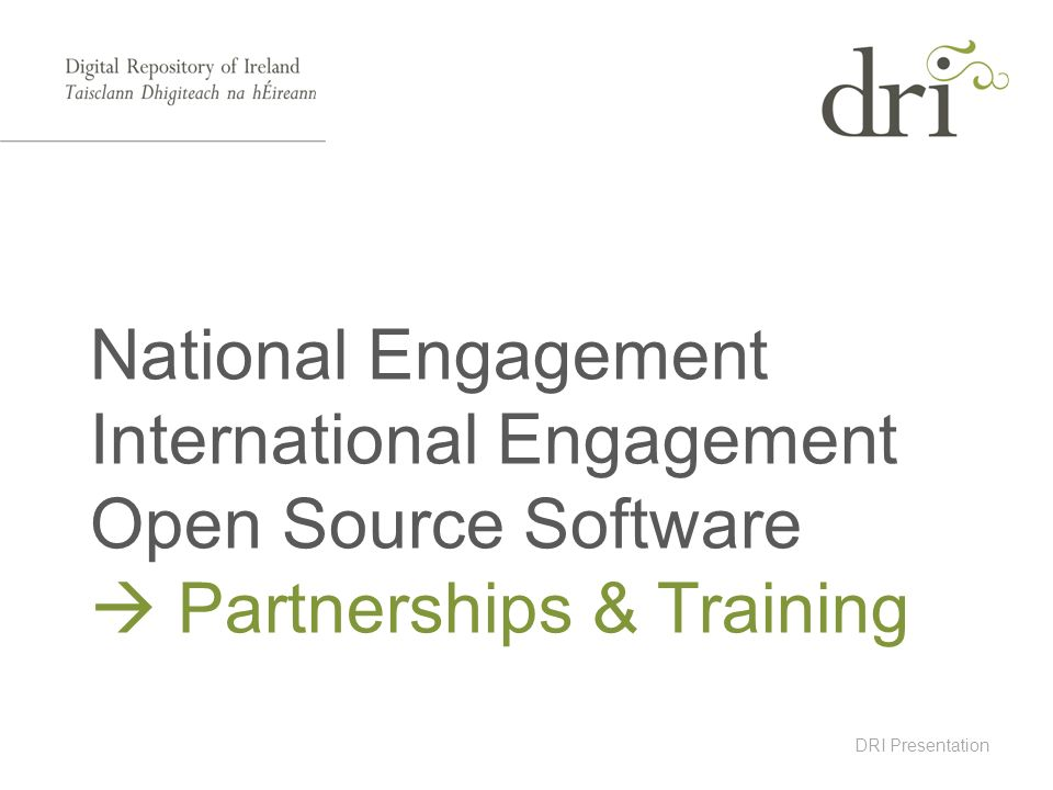 DRI Presentation National Engagement International Engagement Open Source Software Partnerships & Training
