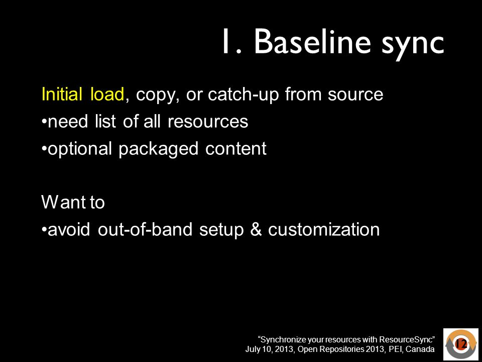 Synchronize your resources with ResourceSync July 10, 2013, Open Repositories 2013, PEI, Canada 1.
