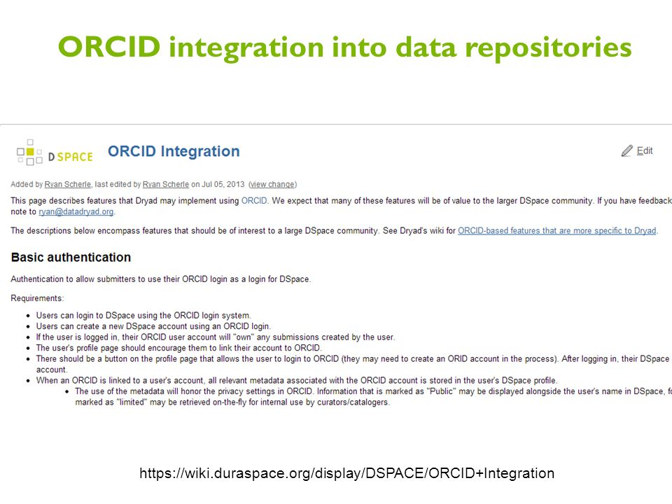 ORCID integration into data repositories https://wiki.duraspace.org/display/DSPACE/ORCID+Integration