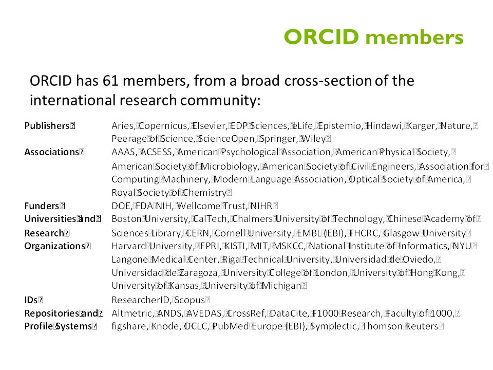 ORCID members ORCID has 61 members, from a broad cross-section of the international research community: