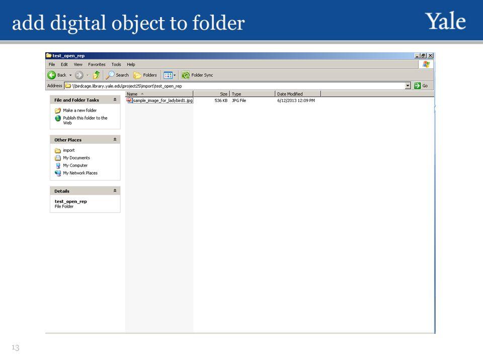 add digital object to folder 13