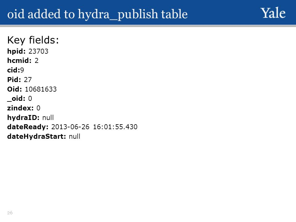 oid added to hydra_publish table Key fields: hpid: 23703 hcmid: 2 cid:9 Pid: 27 Oid: 10681633 _oid: 0 zindex: 0 hydraID: null dateReady: 2013-06-26 16:01:55.430 dateHydraStart: null 26