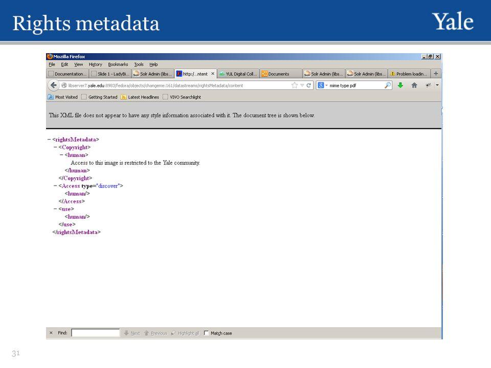 Rights metadata 31