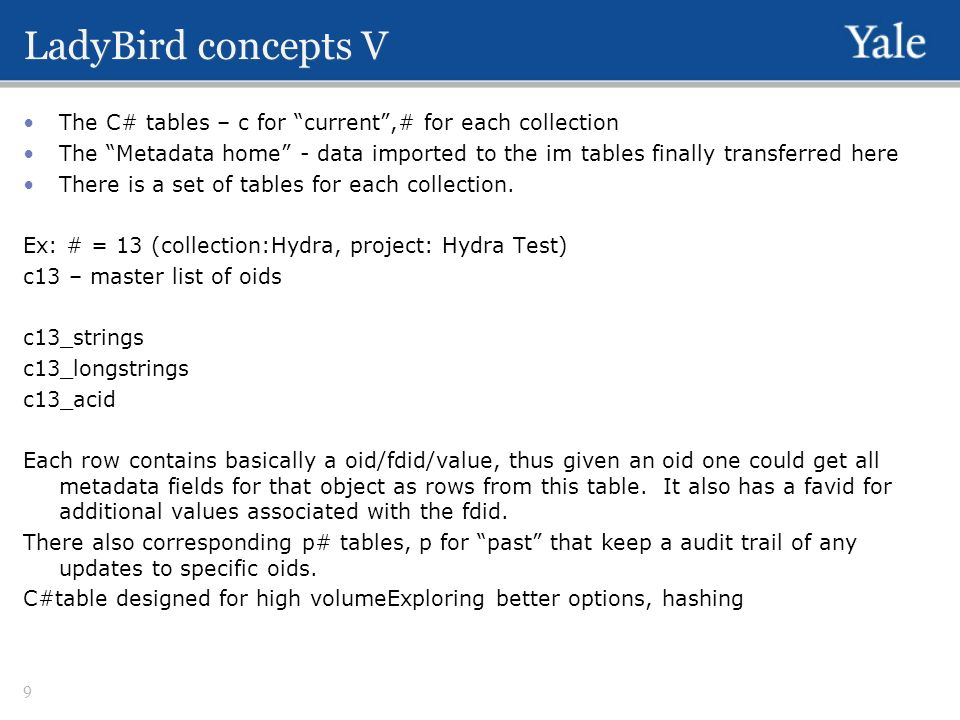LadyBird concepts V The C# tables – c for current,# for each collection The Metadata home - data imported to the im tables finally transferred here Th