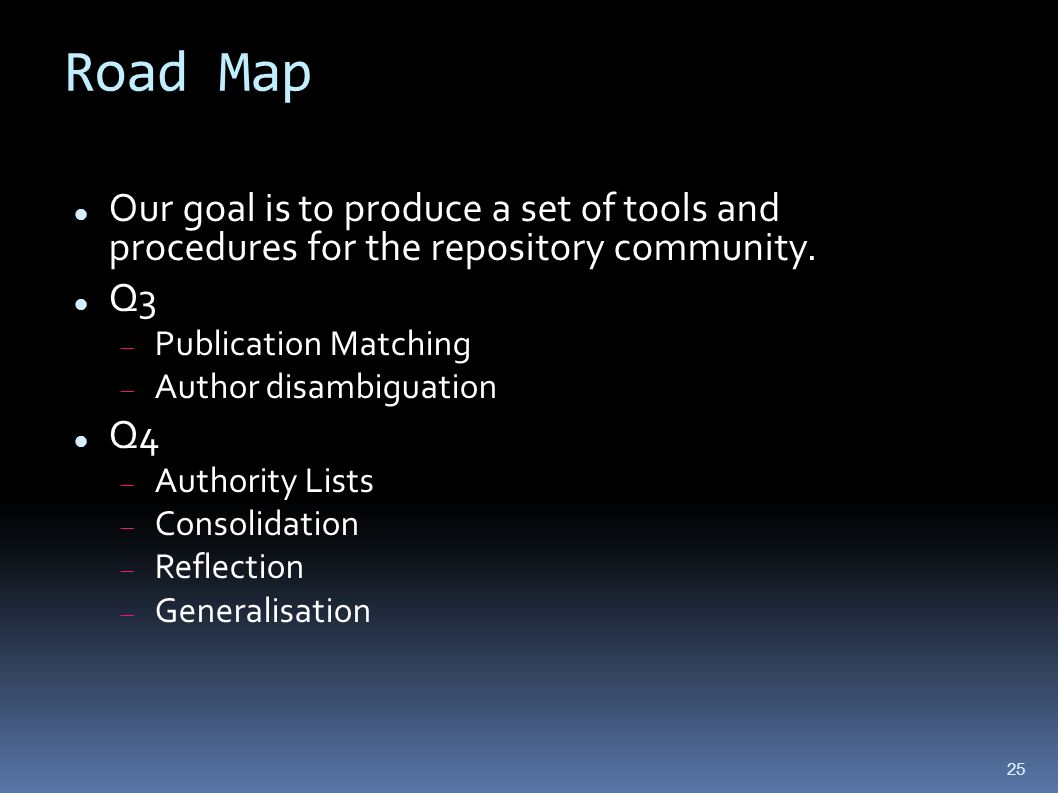 Road Map Our goal is to produce a set of tools and procedures for the repository community.