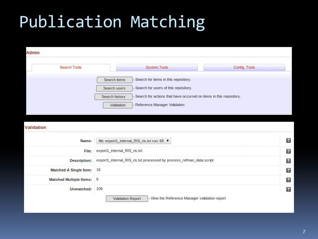 Publication Matching 7