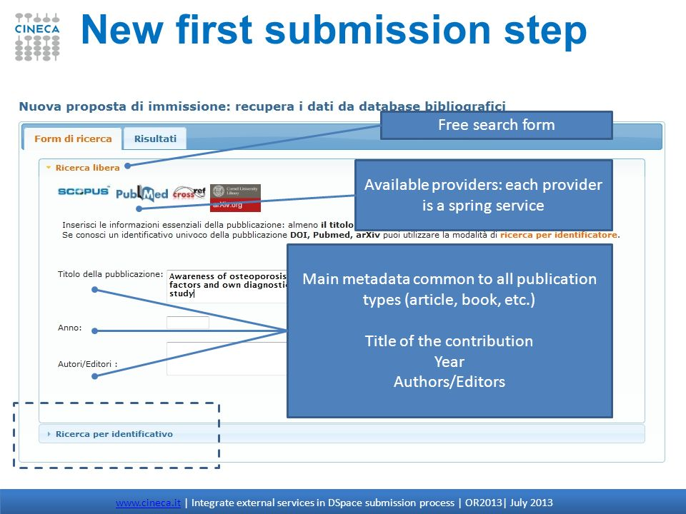 New first submission step www.cineca.itwww.cineca.it | Integrate external services in DSpace submission process | OR2013| July 2013 Available provider