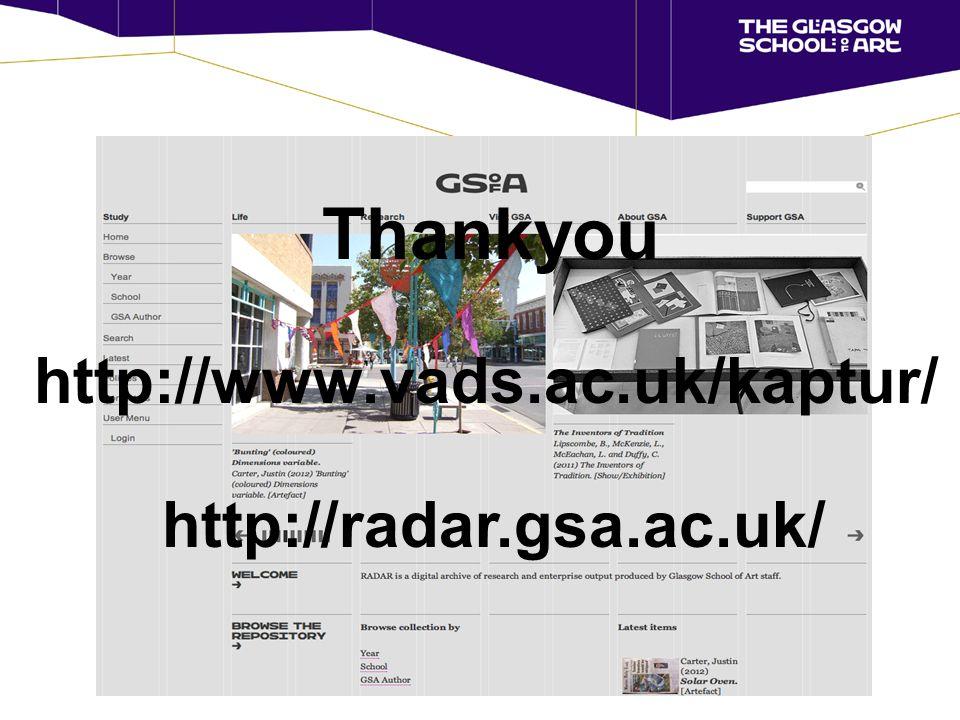 http://radar.gsa.ac.uk/ Thankyou http://www.vads.ac.uk/kaptur/