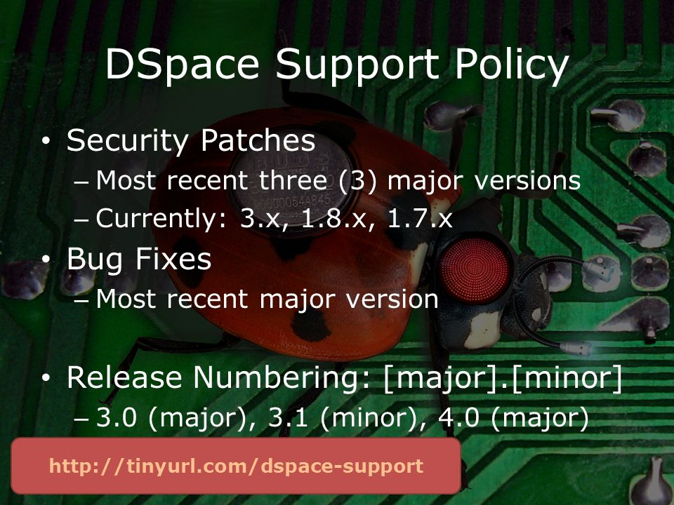 DSpace Support Policy Security Patches – Most recent three (3) major versions – Currently: 3.x, 1.8.x, 1.7.x Bug Fixes – Most recent major version Release Numbering: [major].[minor] – 3.0 (major), 3.1 (minor), 4.0 (major)